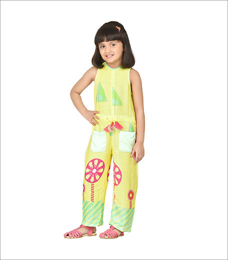 Yellow Pretty Jumpsuit With Floral Neckline_Hauterfly